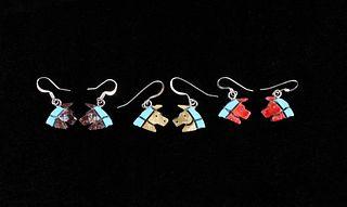 Zuni S. Lonjose Mosaic Inlaid Turquoise Earring