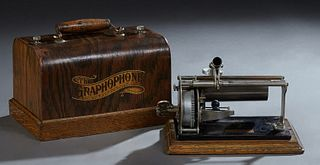 Columbia Graphophone Oak Cylinder Phonograph, c. 1901, with iron horn and winding key, motor works, Case- H.- 6 1/2 in.