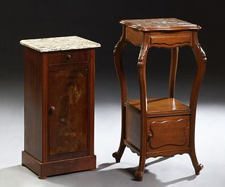 Two French Marble Top Nightstands, 19th c., consisting of a Louis Philippe example with a variegated tan marble over a frieze drawer...