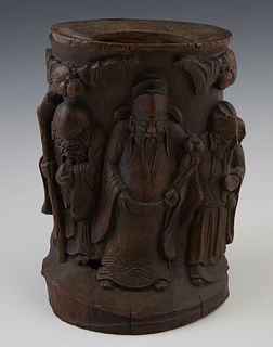 Chinese Carved Bamboo Brush Pot, 19th c., with figural relief carved sides, H.- 8 3/4 in., W.- 6 3/4 in., D.- 5 1/4 in. Provenance:...