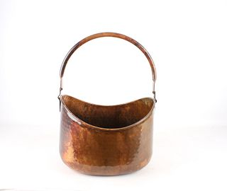 Hammered Copper Swivel Handled Bucket c. 1960's