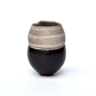 Tiny Pinch Pot with Stripes and Squared off Opening
