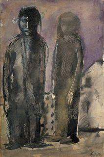 Mario Sironi (Sassari 1885-Milano 1961)  - Due figure, around 1950