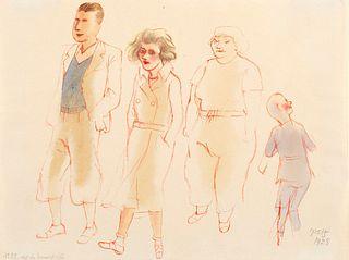 George Grosz (Berino 1893-Berlino 1959)  - Aus der Sommerfrische passanten, Ostseebad Wustrow, 1928