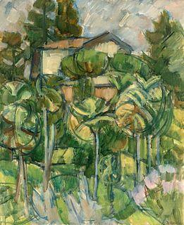 Cristoforo De Amicis (Alessandria 1902-Milano 1987)  - Paesaggio fra le palme, 1964