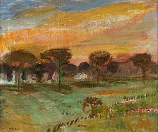 Angelo Del Bon (Milano 1898-Desio 1952)  - Tramonto sulla pineta, 1946