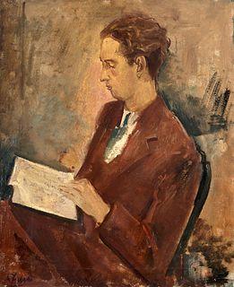 Achille Funi (Ferrara 1890-Appiano Gentile 1972)  - Ritratto di Eugenio Montale, early 30s