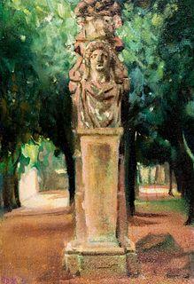 Giacomo Balla (Torino 1871-Roma 1958)  - Villa Borghese - Erma in Parco dei Daini, 1920s