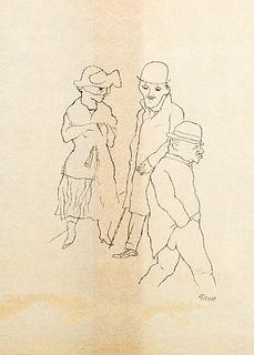 George Grosz (Berino 1893-Berlino 1959)  - Three figures, 1920