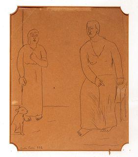 Carlo Carrà (Quargnento 1881-Milano 1966)  - Two figures with dog, 1922