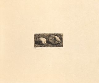 Giorgio Morandi (Bologna 1890-1964)  - Natura morta con pane e limone, 1921