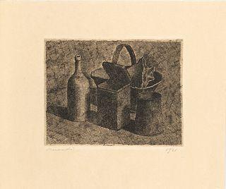 Giorgio Morandi (Bologna 1890-1964)  - Natura morta con il cestino del pane, 1921
