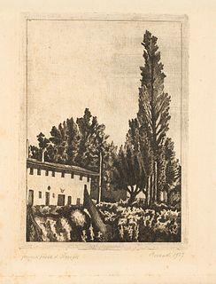 Giorgio Morandi (Bologna 1890-1964)  - Paesaggio con il grande pioppo, 1927