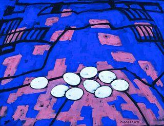 Felice Casorati (Novara 1883-Torino 1963)  - Eggs on the landscape, 1959