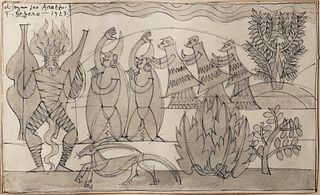 Fortunato Depero (Fondo 1892-Rovereto 1960)  - Drawing for tapestry, 1923