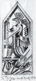 """Fortunato Depero (Fondo 1892-Rovereto 1960)  - Study for decorative panel for the restaurant """"Enrico e Paglieri"""", New York, 1948"""
