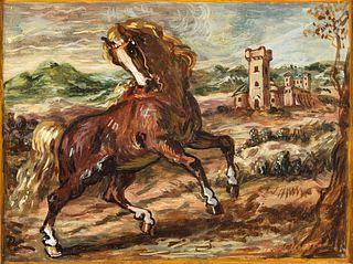 Giorgio de Chirico (Volos 1888-Roma 1978)  - Cavallo impennato, around 1955