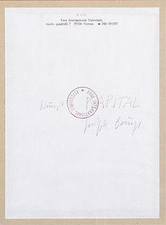 Joseph Beuys (Krefeld 1921-Düsseldorf 1986)  - F.I.U