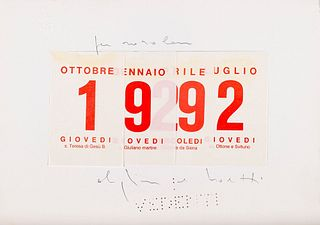 Alighiero Boetti (Torino 1940-Roma 1994)  - Calendario, 1992