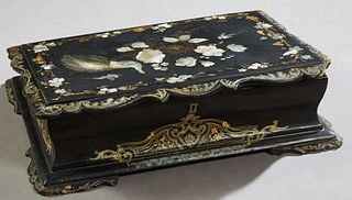 English Papier Mache Mother-of-Pearl Inlaid Gilt Decorated Lap Desk, c. 1880, the slanted scalloped edge lid opening to an interior ...