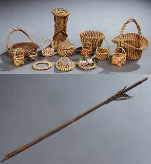 Group of Fifteen Various Diminutive Native American Items: consisting of four Choctaw market baskets; one Coushatta market basket; o...