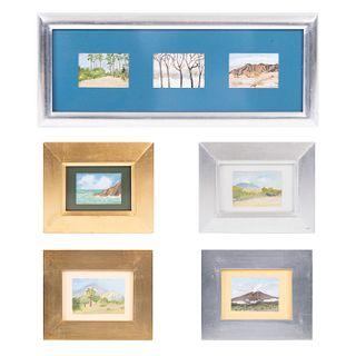 Lote de 7 obras pictóricas. Teresa. Paisajes miniatura. Cinco firmados. Óleos sobre lienzo. Enmarcadas.
