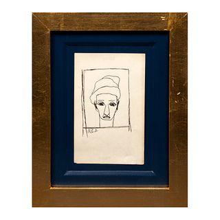 Firmado con Monograma R.E.A. Rostro. Firmada. Tinta sobre papel. Enmarcada. 15 x 11 cm