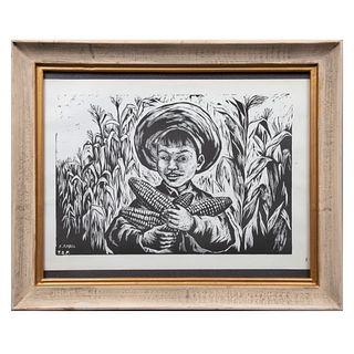 Fanny Rabel. Niño con mazorcas. Firmada en plancha. Litografía sin número de tiraje. Enmarcada. 27 x 30.5 cm.