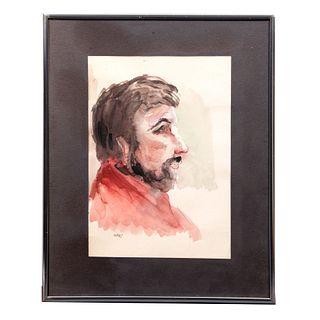 FERNANDO CASAS. Retrato masculino de perfil. Firmado. Acuarela sobre papel. Enmarcada. 27 x 19 cm.