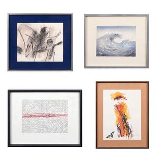 Lote de 4 obras pictóricas. Consta de: Maruin Rodriguez. Costa Rica. Firmada. Acuarela. 12 x 15.5 cm. Otras.