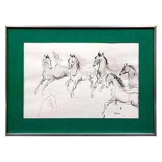 FERNANDO CASAS. Caballos. Firmada y fechada 84. Acuarela sobre papel. Enmarcada. 28 x 43 cm.