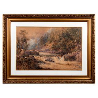 David Hall McKewan (Inglaterra 1818-1873). Paisaje con cabras. Técnica mixta. Enmarcada.  48 x 74 cm