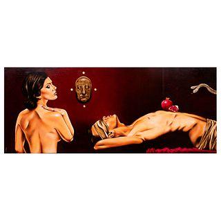 Edgar Miranda. Serpiente. Firmado. Óleo sobre tabla. Sin enmarcar. 50 x 122 cm