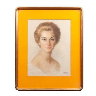 Raúl Manteola. Retrato de dama. Firmado y fechado 1962. Pastel sobre papel. Enmarcado. Detalles de conservación.