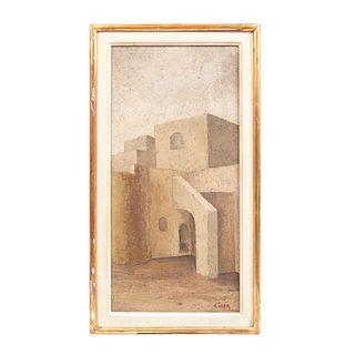 Firmado CORA. Convento. Óleo sobre tela. Enmarcado. 48 x 24 cm