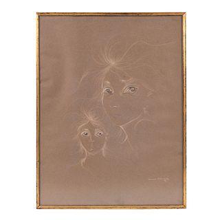 Xavier Rodríguez. Rostros femeninos. Firmada y fechada 68. Lápiz y pastel. Enmarcada. 65 x 49 cm