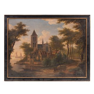 Anónimo. Vista de iglesia. Óleo sobre tela. Enmarcada. 56 x 75 cm
