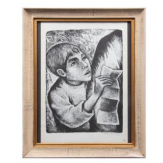 Fanny Rabel. Niño. Firmada a lápiz. Litografía sin número de tiraje. Enmarcada. 38 x 28 cm.
