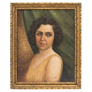 FRANCISCO DE PAULA MENDOZA. RETRATO MARÍA TERESA URQUIZO DE RAMÍREZ. Óleo sobre tela. Firmado y fechado 1934. 51.5 x 41 cm