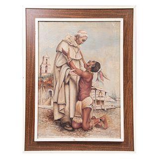 Jesús Sergio Barrientos Chávez. (México, siglo XX). Por mi fé católica. Firmado. Óleo sobre tela. Enmarcada. 68.5 x 49 cm