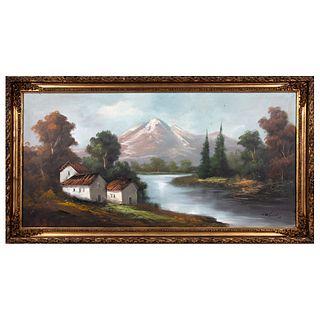 Firma no identificada. Vista de paisaje con lago. Óleo sobre tela. Enmarcado.  58 x 118 cm
