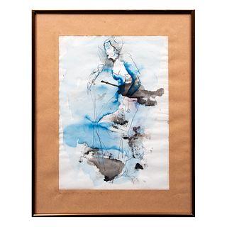 Anónimo. Dama azul. Acuarela y tinta. Enmarcada. 34 x 24 cm