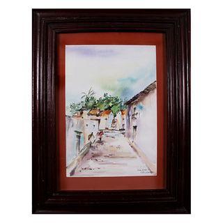 Ruiz Velasco. Puerto Vallarta. Firmada y fechada 86.  Acuarela sobre papel. Enmarcada. Detalles de conservación. 49 x 34 cm
