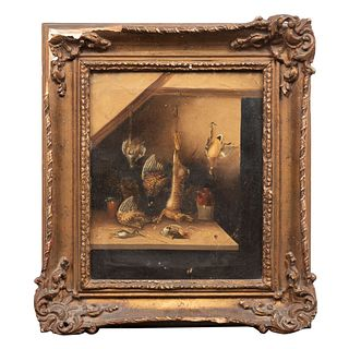 Anónimo. Trofeos de caza. Sin firma. Óleo sobre tela. Enmarcado. 29 x 24 cm