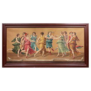 Apollo e le Muse de Giulio Romano. Italia, inicios siglo XX. Impresión en lienzo, cromolitografía. Con monograma RAS. Enmarcada.