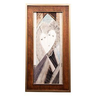 Francisco. Pareja. Firmada. Mixta sobre rígido. Enmarcada. 78 x 32 cm