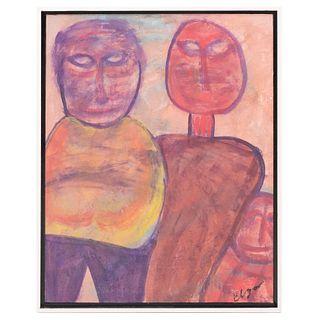 """Eliseo Garza """"Elgar"""". Familia. Firmado. Técnica mixta. Enmarcada. Con certificado de autenticidad. 75 x 60 cm."""