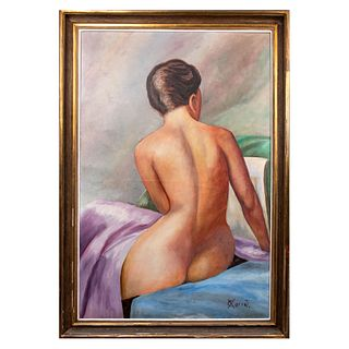 Xavier Corral. Desnudo femenino. Firmado. Óleo sobre tela. Enmarcado. 118 x 78 cm
