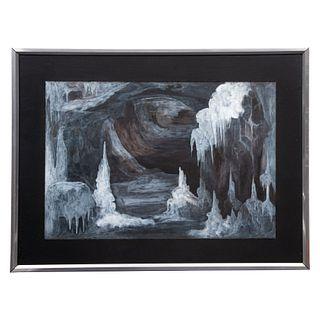 Colmenares. Vista de gruta. Firmado y fechado 1982. Técnica mixta sobre papel. Enmarcada. 27.5 x 40 cm