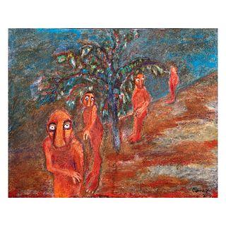 Amaya Escalera. Noche en la montaña. Firmada y fechada 2003. Técnica mixta. Sin enmarcar. 40 x 50 cm